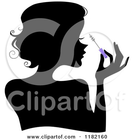 Cartoon of a Black Silhouetted Woman Applying Mascara from a Purple Brush - Royalty Free Vector Clipart by BNP Design Studio