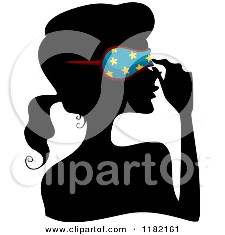 Cartoon of a Black Silhouetted Woman Adjusting a Blue Starry Sleep Mask - Royalty Free Vector Clipart by BNP Design Studio