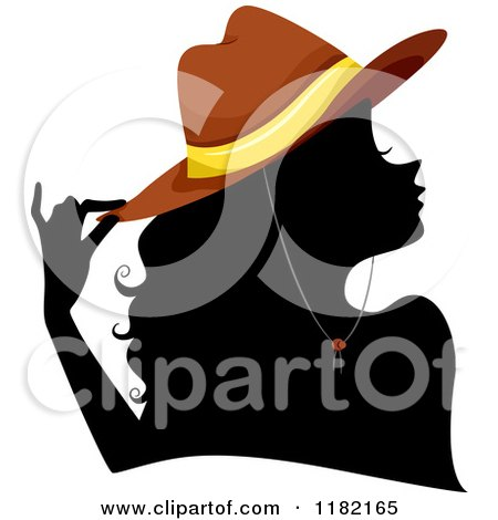 Cartoon of a Black Silhouetted Woman with a Brown Cowgirl Hat - Royalty Free Vector Clipart by BNP Design Studio