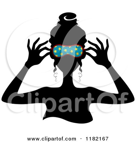 Cartoon of a Black Silhouetted Woman Putting on a Blue Starry Sleep Mask - Royalty Free Vector Clipart by BNP Design Studio