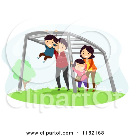 Cartoon of a Happy Family Playing on Monkey Bars - Royalty Free Vector Clipart by BNP Design Studio