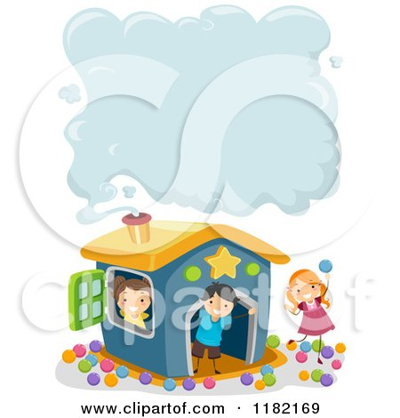 Cartoon of Happy Children at a Play House with Smoke Copyspace - Royalty Free Vector Clipart by BNP Design Studio