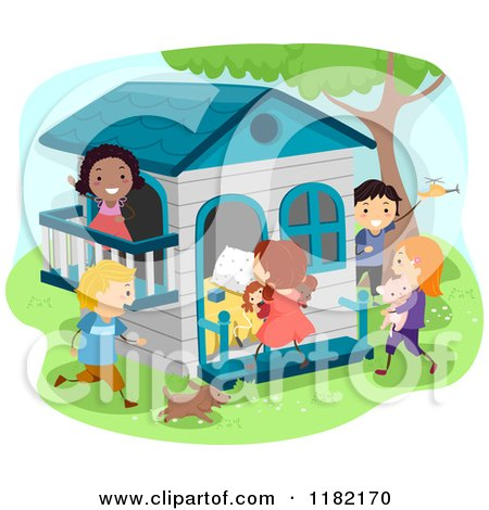 Cartoon of Happy Diverse Children at a Play House - Royalty Free Vector Clipart by BNP Design Studio