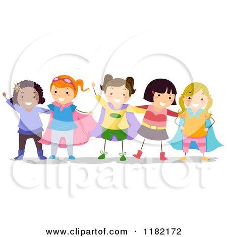 Cartoon of Happy Diverse Girls in Super Hero Costumes - Royalty Free Vector Clipart by BNP Design Studio