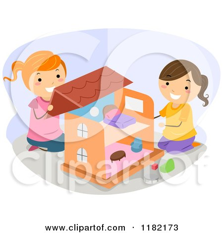 Cartoon of Happy Girls Playing with a Doll House - Royalty Free Vector Clipart by BNP Design Studio