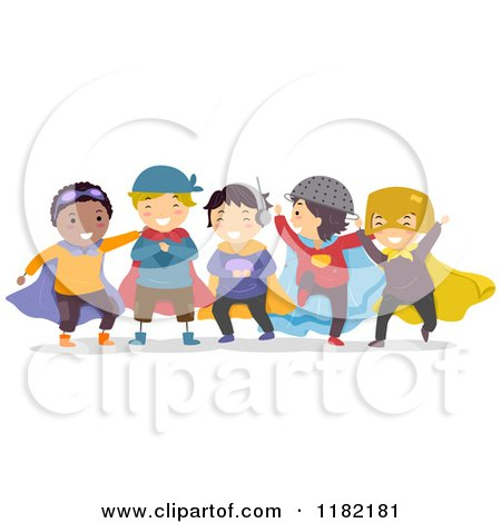 Cartoon of Boys Playing in Super Hero Costumes - Royalty Free Vector Clipart by BNP Design Studio