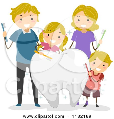 Cartoon of a Happy Blond Caucasian Family with Brushes and a Big Tooth - Royalty Free Vector Clipart by BNP Design Studio