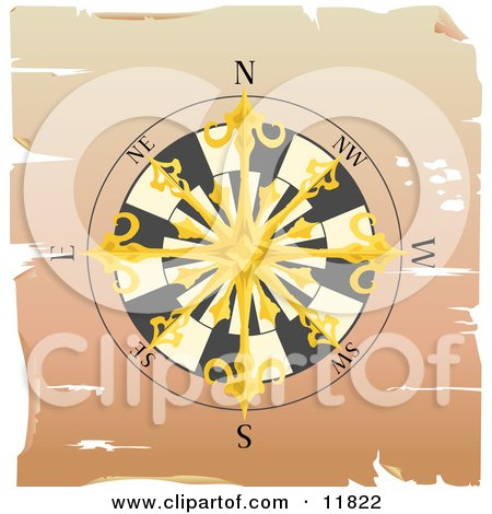 Golden Sailor's Compass Rose Clipart Illustration by AtStockIllustration