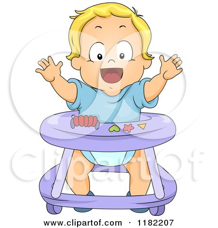 Happy Blond Toddler Boy in a Baby Walker Posters, Art Prints