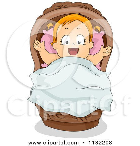Royalty Free Rf Clipart Illustration Of A Pink Bow On A Baby Bassinet By Pams Clipart 62476