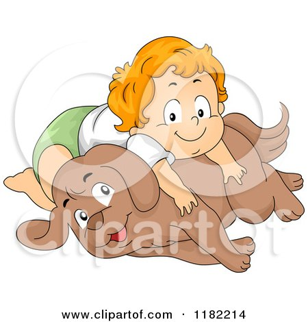 Cartoon of a Happy Red Haired Toddler Boy Laying on a Dog - Royalty Free Vector Clipart by BNP Design Studio