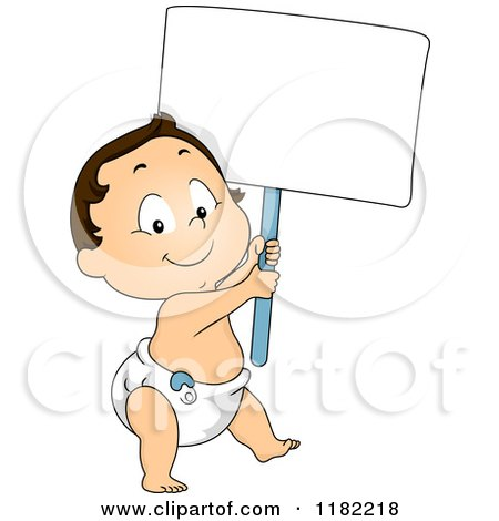 Cartoon of a Happy Caucasian Toddler Boy in a Diaper, Carrying a Sign - Royalty Free Vector Clipart by BNP Design Studio