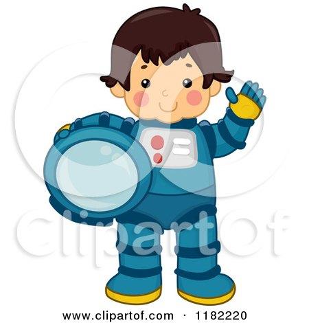 Cartoon of a Waving Astronaut Boy Holding His Helmet - Royalty Free Vector Clipart by BNP Design Studio