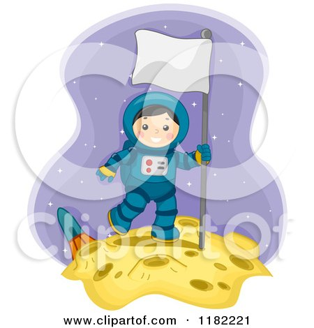 Cartoon of a Happy Astronaut Boy with a Sign on the Moon - Royalty Free Vector Clipart by BNP Design Studio