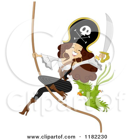 Cartoon of a Sexy Pirate Pinup Woman and Parrot on a Swinging Rope - Royalty Free Vector Clipart by BNP Design Studio