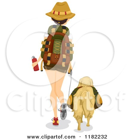 Rear View of a Hiking Woman and Dog Posters, Art Prints