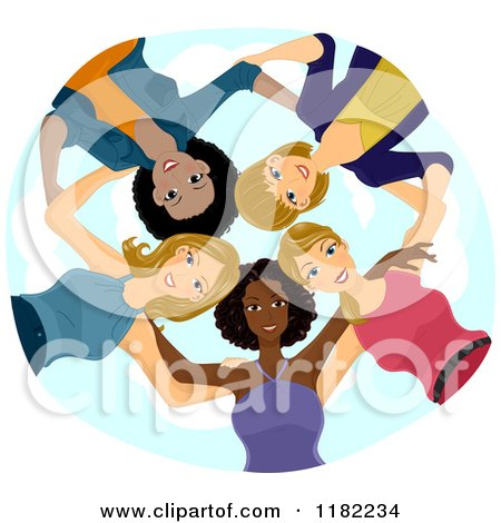 Cartoon of a Huddled Group of Diverse Women Looking down - Royalty Free Vector Clipart by BNP Design Studio