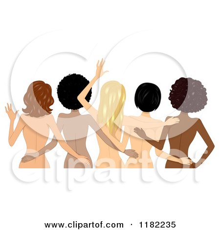Cartoon of a Rear View of Embracing Nude Diverse Women - Royalty Free Vector Clipart by BNP Design Studio