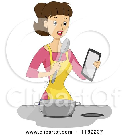 Cartoon of a Brunette Woman Refering a to a Tablet for a Recipe - Royalty Free Vector Clipart by BNP Design Studio