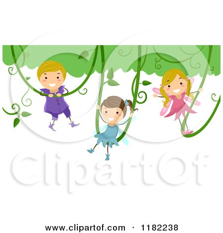 Cartoon of Happy Fairy Children Swinging on Vines - Royalty Free Vector Clipart by BNP Design Studio