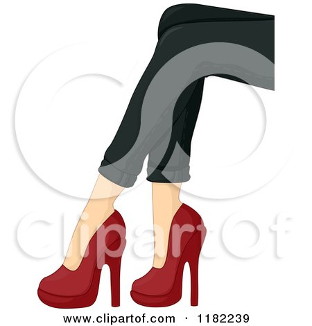 Cartoon of a Womans Legs with Black Skinny Jeans and Red Heels - Royalty Free Vector Clipart by BNP Design Studio