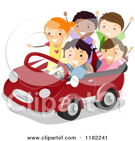 Cartoon of Happy Diverse Children in a Convertible Car - Royalty Free Vector Clipart by BNP Design Studio