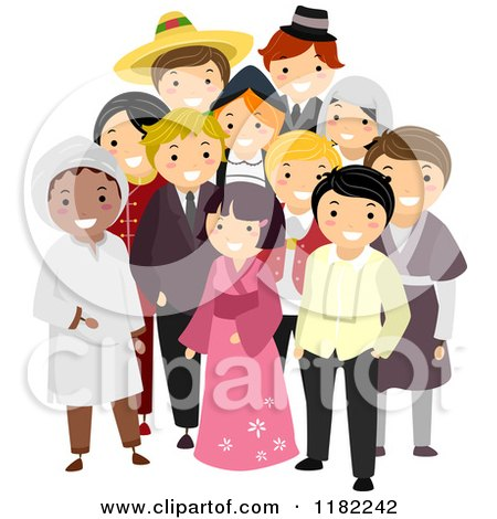 Cartoon of a Group of Multi Cultural People in Their National Costumes - Royalty Free Vector Clipart by BNP Design Studio