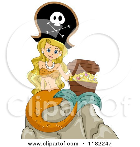 Cartoon of a Blond Pirate Mermaid Sitting on a Rock with a Treasure Chest - Royalty Free Vector Clipart by BNP Design Studio