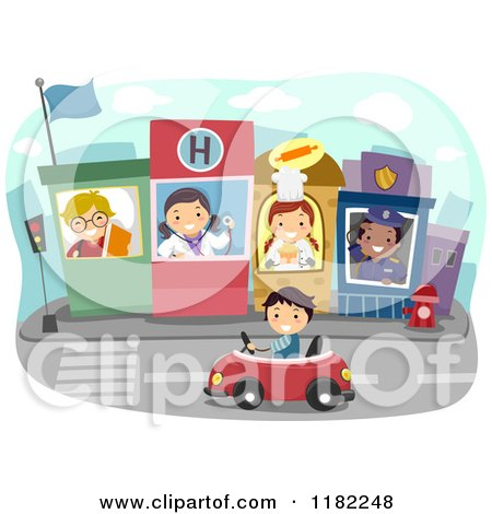 Cartoon of a Boy Driving Through a Town with Occupational Kids - Royalty Free Vector Clipart by BNP Design Studio