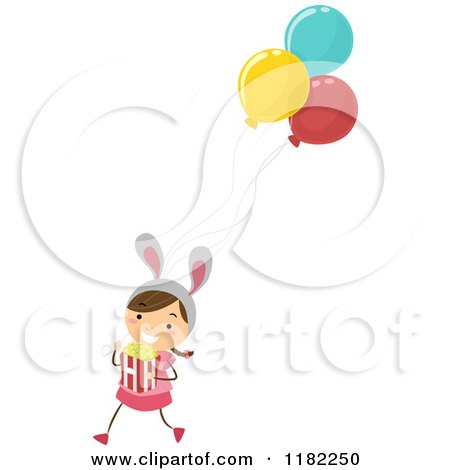 Cartoon of a Theme Park Girl with Balloons Bunny Ears and Popcorn - Royalty Free Vector Clipart by BNP Design Studio