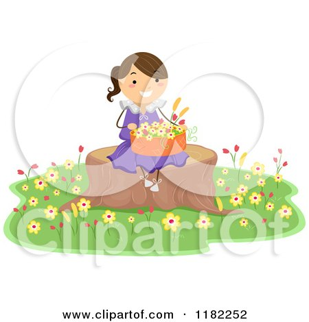 Cartoon of a Happy Girl Sitting on a Tree Stump with a Basket of Flowers - Royalty Free Vector Clipart by BNP Design Studio
