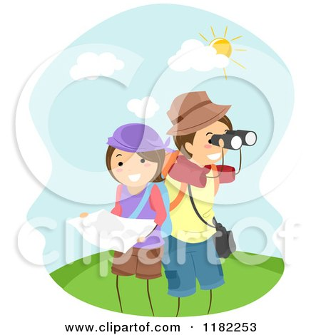 Cartoon of a Happy Adventurer Couple with a Map and Binoculars - Royalty Free Vector Clipart by BNP Design Studio