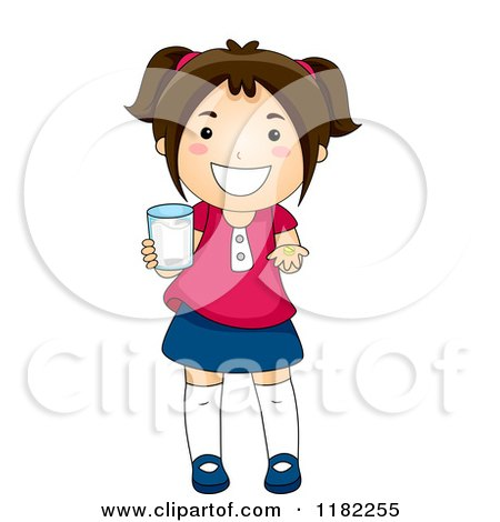 Cartoon of a Happy Brunette Girl Holding a Cup and a Vitamin - Royalty Free Vector Clipart by BNP Design Studio