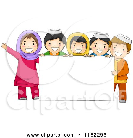 Cartoon of a a Group of Muslim Children Around a Sign - Royalty Free Vector Clipart by BNP Design Studio