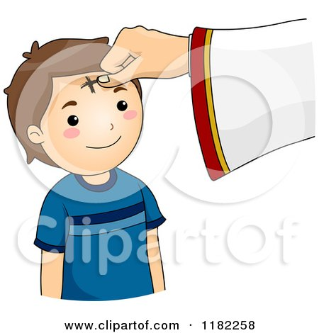 cartoon of a cross being marked on a boy s forehead on ash wednesday rh clipartof com ash wednesday service clip art ash wednesday cross clip art