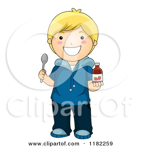 Cartoon of a Happy Blond Boy Holding Strawberry Vitamin Syrup and a Spoon - Royalty Free Vector Clipart by BNP Design Studio