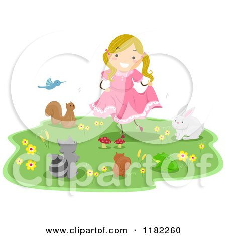 Cartoon of Animals Around a Dancing Girl - Royalty Free Vector Clipart by BNP Design Studio