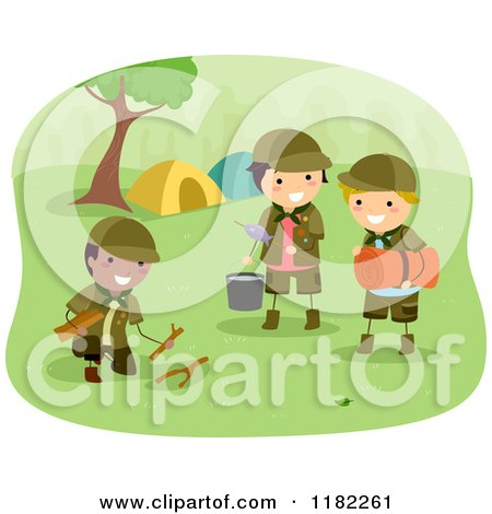 Cartoon of Three Scout Boys Preparing Camp - Royalty Free Vector Clipart by BNP Design Studio