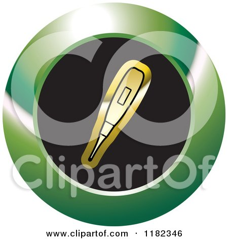 Clipart of a Gold Blood Sugar Monitor or Thermometer on a Black and Green Icon - Royalty Free Vector Illustration by Lal Perera