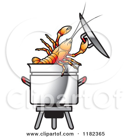 Clipart of a Crayfish in a Pot - Royalty Free Vector Illustration by Lal Perera