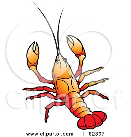 Clipart of an Orange Crayfish - Royalty Free Vector Illustration by Lal Perera