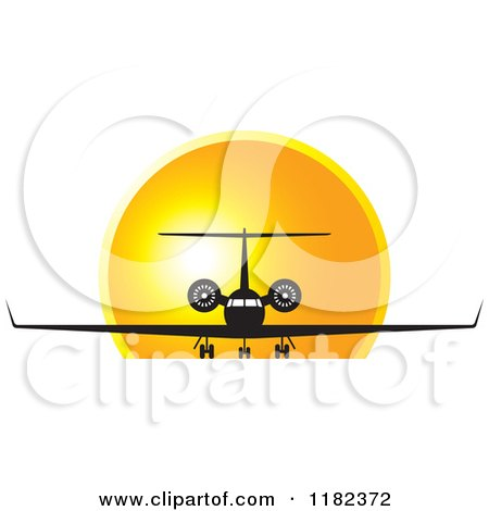 Clipart of a Black and White Airplane Against a Sunset - Royalty Free Vector Illustration by Lal Perera