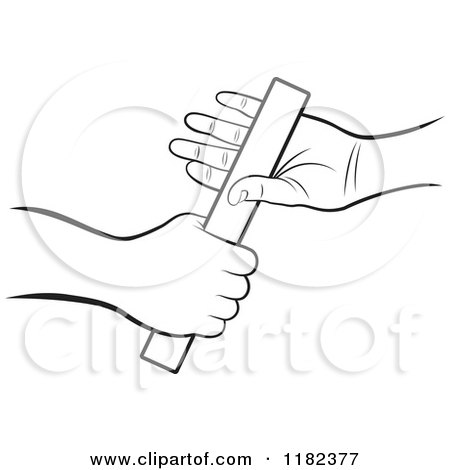 Clipart of Black and White Hands Passing a Relay Race Baton - Royalty Free Vector Illustration by Lal Perera