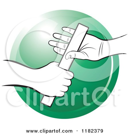 Clipart of Black and White Hands Passing a Relay Race Baton over a Green Circle - Royalty Free Vector Illustration by Lal Perera