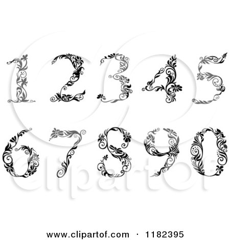 Clipart of Vintage Black and White Floral Numbers - Royalty Free Vector Illustration by Vector Tradition SM