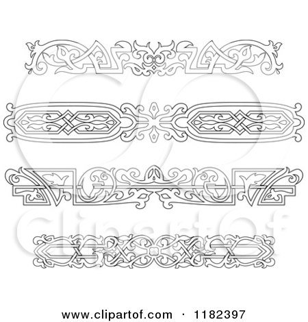 Clipart of Vintage Black and White Victorian Rule Borders - Royalty Free Vector Illustration by Vector Tradition SM