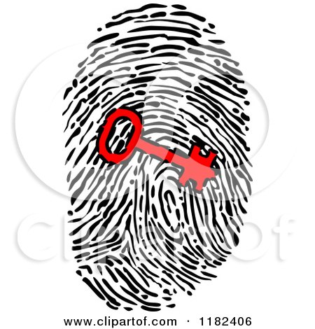 Clipart of a Red Key over a Fingerprint - Royalty Free Vector Illustration by Vector Tradition SM