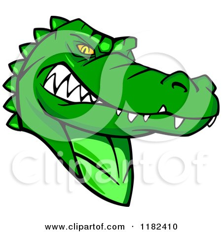 Clipart of an Aggressive Green Alligator Mascot - Royalty Free Vector Illustration by Vector Tradition SM