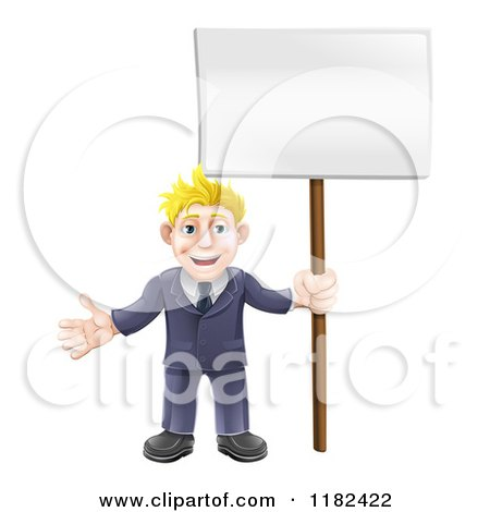 Cartoon of a Happy Blond Businessman Holding a Sign - Royalty Free Vector Clipart by AtStockIllustration