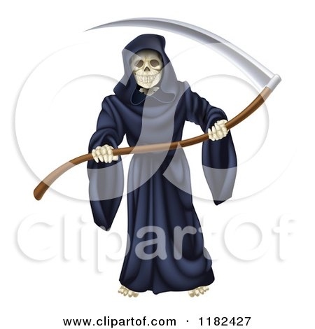 Clipart of a Grim Reaper Holding a Sharp Scythe - Royalty Free Vector Illustration by AtStockIllustration